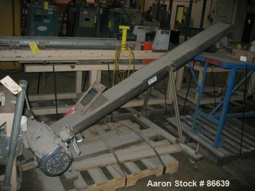 "USED: 8"" stainless steel screw conveyor, 8"" diameter x 88"" long trough, 3.5"" pitched flites, 8"" diameter discharge with appr..."