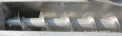 """USED: Screw conveyor, 304 stainless steel, horizontal. 6"""" diameter x 120"""" long x 3"""" pitch screw. Clamp down top covers. (2) ..."""