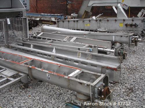 "USED: Screw conveyor, 304 stainless steel. 9"" diameter x 42' long x 9"" pitch screw, 10"" wide trough. Requires drive."