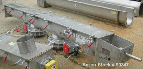 "Unused- Dalex Screw conveyor, 304 stainless steel, horizontal. 9"" diameter x 111"" long x 4"" pitch screw. 10"" x 10"" side open..."