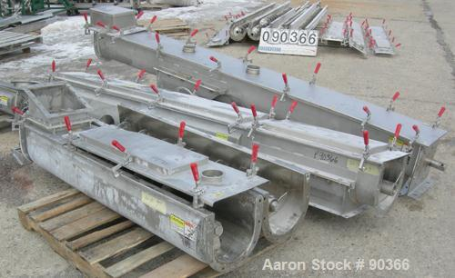 "USED: Screw conveyor, 304 stainless steel, horizontal. 9"" diameter x approximately 30' long x 4-1/2"" pitch screw in 4 sectio..."