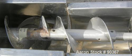 "USED: Screw conveyor, 304 stainless steel, horizontal. 9"" diameter x approximately 144"" long x 4-1/2"" pitch screw in 3 secti..."