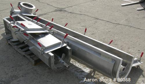 """USED: Screw conveyor, 304 stainless steel, horizontal. 9"""" diameter x approximately 170"""" long x 4-1/2"""" pitch screw in 2 secti..."""