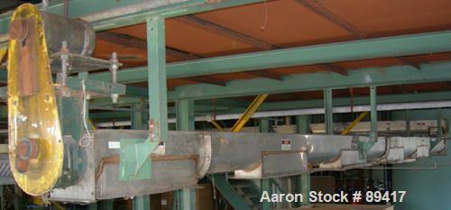 "USED: Advanced Fabricators Screw Conveyor, 304 stainless steel, horizontal. 6"" diameter x 220"" long x 3"" pitch screw. Driven..."