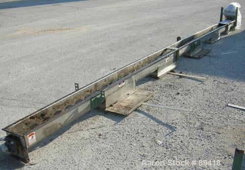 "USED: Advanced Fabricators Screw Conveyor, 304 stainless steel, horizontal. 6"" diameter x 220"" long x 3"" pitch screw. Driven..."