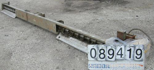 "USED: Advanced Fabricators screw conveyor, 304 stainless steel, horizontal. 6"" diameter x 202"" long x 3"" pitch screw. Driven..."