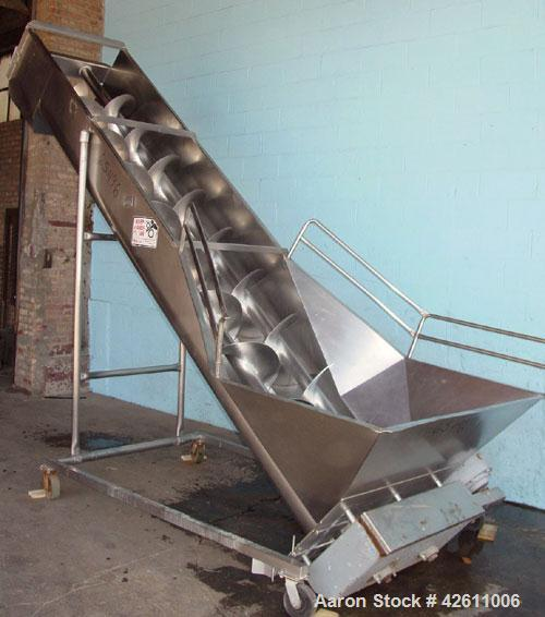 """Used- Afeco Screw Conveyor, Model 150, stainless steel. Dual auger type with (2) 17"""" diameter x 144"""" long  x approximate 8"""" ..."""