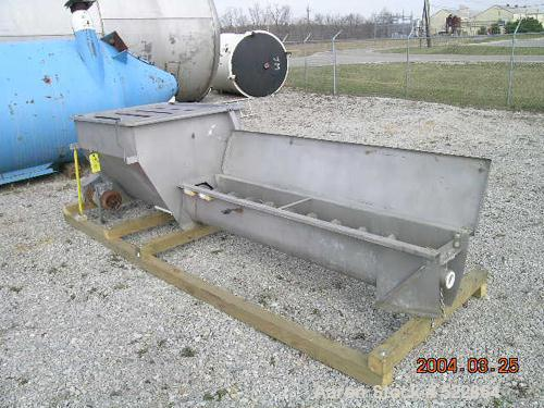 """USED: 10"""" x 120"""" long stainless steel screw feeder manufactured byBoldt Industries, Des Moines IA. 10"""" diameter x 120"""" x 1/8..."""