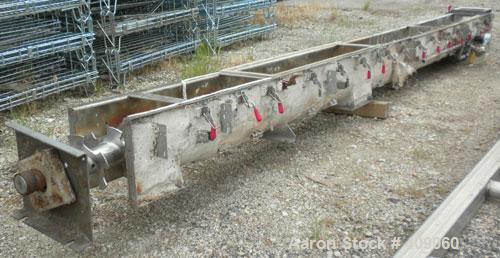 "Used- Continental Screw Conveyor Horizontal Screw Conveyor, 316 Stainless Steel. Approximate 9"" diameter x 200"" long x 5"" pi..."
