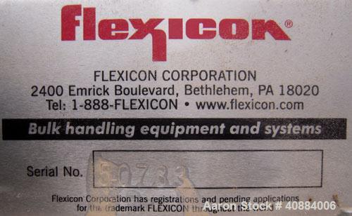 "Used- Flexcion Flexible Screw Conveyor. 304 Stainless Steel Hopper.  3"" diameter x 249"" long stainless steel screw, 4"" diame..."