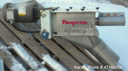 "Used- Flexcion Flexible Screw Conveyor. 17'' x 17'' 304 stainless steel hopper. 1-34"" diameter x 216"" long 304 stainless ste..."