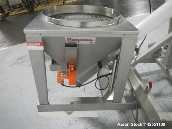 """Used- Flexicon feeder system, with 4"""" diameter x 7' long poly tube, stainless steel auger driven by 3 hp, 230/460 volt motor..."""