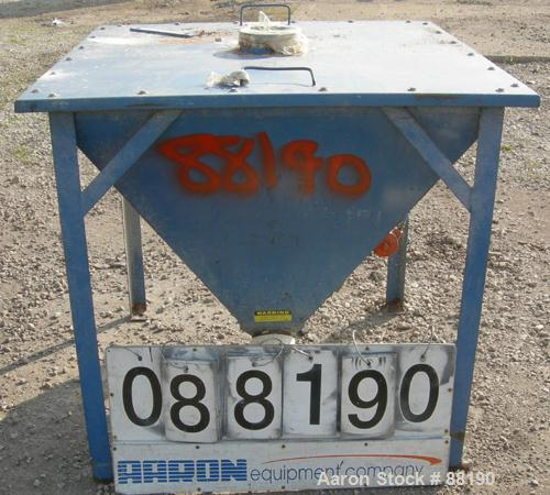 """USED: Flexicon incline screw conveyor. Carbon steel hopper 36"""" long x 36"""" wide x 33"""" coned bottom. Bolt-on top cover. Approx..."""