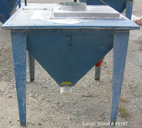 "USED: Flexicon incline screw conveyor. Carbon steel hopper 36"" long x  36"" wide x 33"" coned bottom. Bolt-on top cover. Appro..."