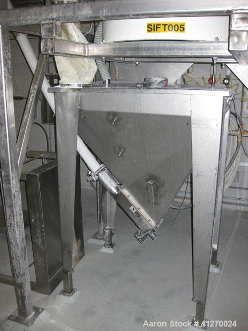 "Used-SpiroFlow Inclined Screw Conveyor, 4"" diameter x 15 feet long. Plastic tube. With stainless steel hopper, model FSC318B..."