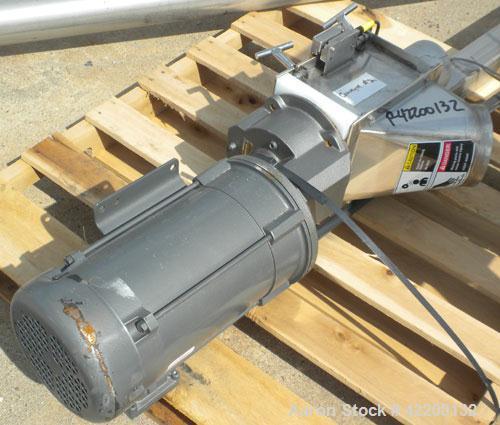 Used- Hapman Mobile Helix Flexible Screw Conveyor, model DO4-HC-0302, 304 stainless steel. (2) 3-1/2'' diameter x 180'' long...