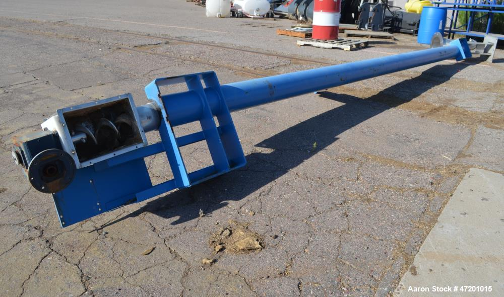 """Used- Hapman Flexable Tube Screw Conveyor, Stainless Steel. Approximate 6"""" diameter x 228 poly tube enclosed in a carbon ste..."""