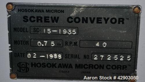 Used- Hosokawa Micron Screw Conveyor, Model SC-15-1935, Stainless Steel Approximate 6'' diameter x 74'' long screw, 6-1/2'' ...