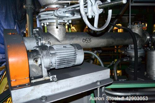 Used-Hosokawa Micron Screw Conveyor, Model SC-15, Stainless Steel Approximate 6'' diameter x 60'' long screw, 6-1/2'' diamet...