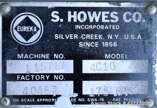 "Used- S. Howes Inclined Screw Conveyor, Model 4C10, 304 Stainless Steel. 4"" diameter x 120"" long screw. Enclosed tube. End f..."