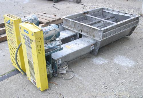 "USED: KWS Dual Screw Conveyor/Feeder, 304 stainless steel. (2) 6"" diameter x 6' long x 1-1/2"" pitch screws. Each driven by a..."