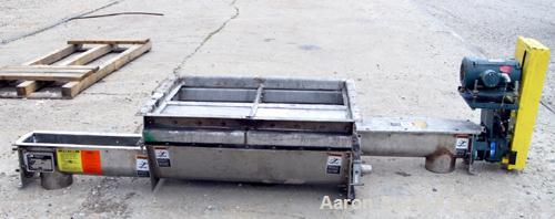 "USED: KWS Dual Screw Conveyor/Feeder, 304 stainless steel. (2) 6"" diameter x 6' long x 1-1/2"" pitch screws. Driven by a 2 hp..."