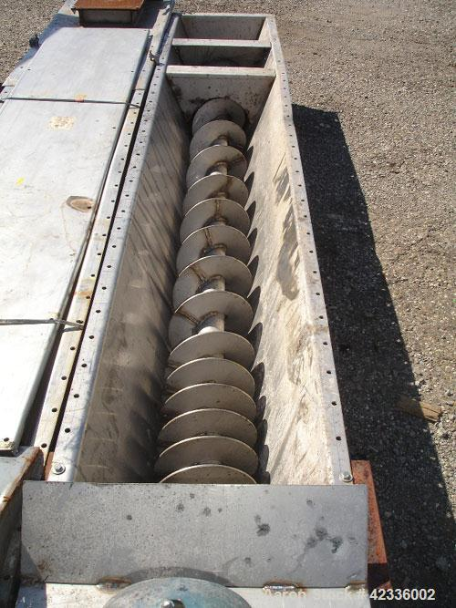"Used- Link Belt Screw Conveyor, Stainless Steel Approximately 10"" diameter x 132'' long. 3'' Thru 9'' pitch flights. Driven ..."