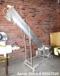 "Used- Inline Screw Conveyor, Stainless Steel. Approximate 10"" diameter x 132"" long x 3"" pitch screw, driven by an approximat..."