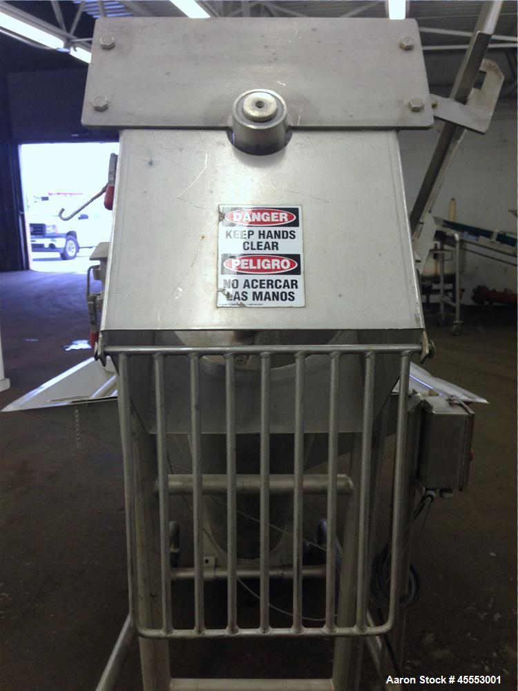 Used- Stainless Steel Mepaco Inclined Screw Conveyor, Model 185