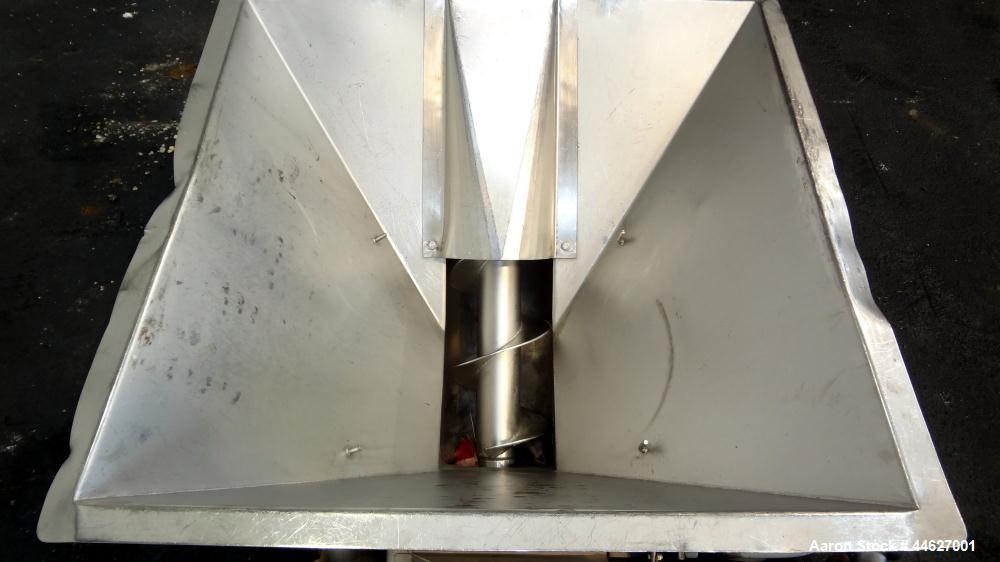 """Used- Mepaco Inclined Screw Conveyor, 304 Stainless Steel. Approximate 6-1/2"""" diameter x 136"""" long screw, 6-1/2"""" pitch. Driv..."""