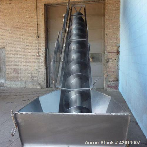 """Used- Material Transportation Company (MTC) Screw Conveyor, model MTCS8-18-19, stainless steel. 16"""" Diameter X 204"""" long scr..."""