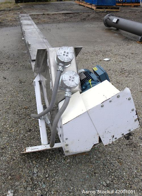 """Used- Inclined Screw Conveyor, 304 Stainless Steel. 6"""" diameter x 200"""" long x 3"""" pitch screw. 5 top cover sections. Top end ..."""