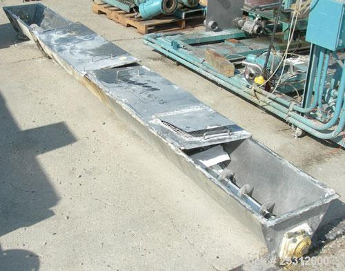 "Used- Screw Conveyor, Approximate 6"" Diameter x 156'' long, Stainless Steel, Horizontal. Last used on a Paddle mixer dischar..."