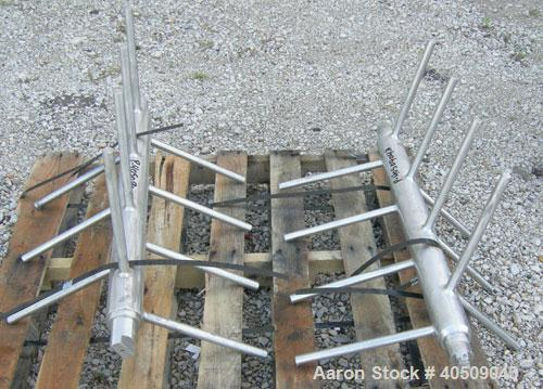 Used- Screw Conveyor/Feeder, 304 stainless steel. 10'' diameter x 111'' long x approximate 4'' pitch. Driven by a 5 hp, 3/60...