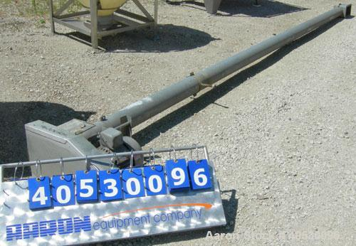 "Used- Screw Conveyor, Carbon Steel. Approximately 5"" diameter x 252"" long x 2 1/2"" centers screw, enclosed tube 6"" diameter...."