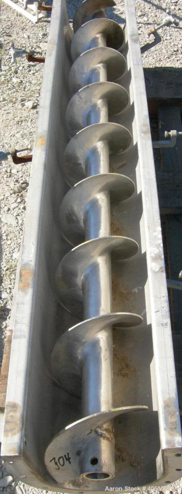 "Used- Screw Conveyor, 304 stainless steel. 9'' diameter x 76'' long x 4 1/2'' centers. Trough 10"" wide x 76"" long x 11'' dee..."