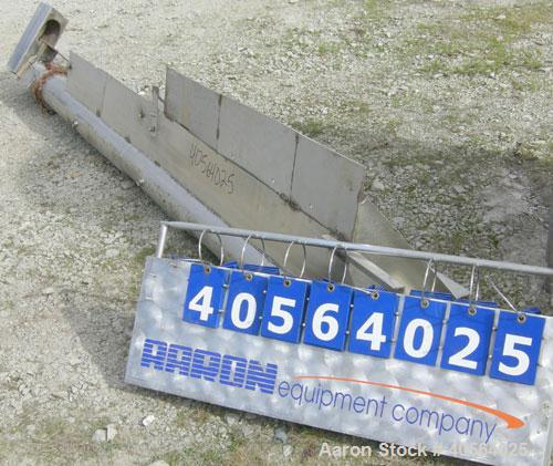 "Used- Screw Conveyor, 304 stainless steel. 5 1/4"" diameter x 120"" long  x 2 1/2"" pitch screw. 3 section jacket on bottom of ..."