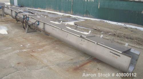 "Used- Horizontal Screw Conveyor, 304 stainless steel. 14"" diameter x 462"" long x 4"" pitch. (2) bolt together trough and scre..."