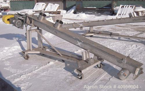 "Used- Inclined Screw Conveyor, 304 Stainless Steel. 6"" diameter x 108"" long x 3"" pitch screw. (2) 7"" end feeds, 7"" end botto..."