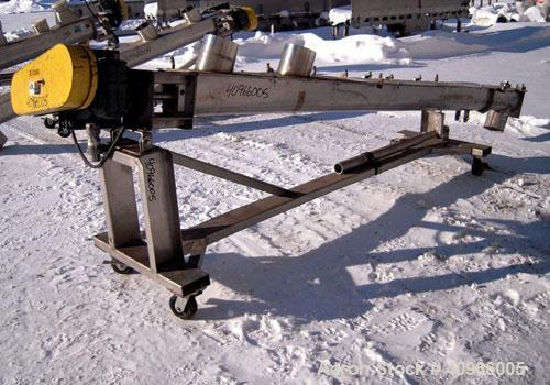 """Used- Inclined Screw Conveyor, 304 stainless steel. 6"""" diameter x 144"""" long x 3"""" pitch screw. (2) 7"""" end feeds, 7"""" end botto..."""