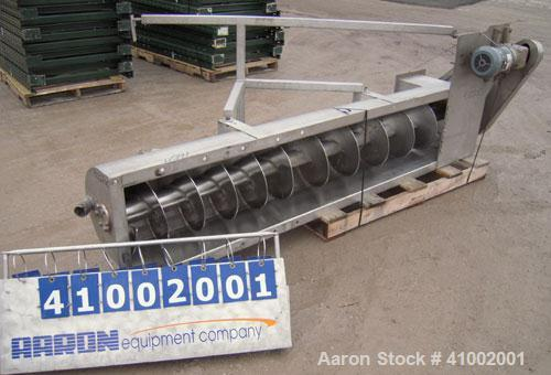 Used- Inclined Screw Conveyor, 304 stainless steel. 16'' diameter x 90'' long x 3'' pitch. No top cover sections. End feed, ...