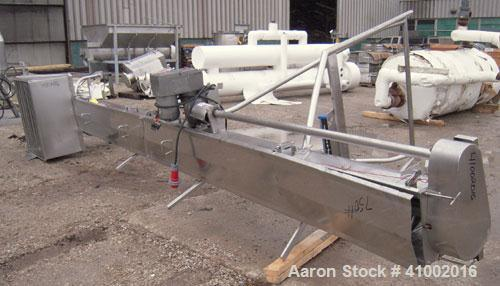 "Used- Inclined Screw Conveyor, 304 stainless steel. 10"" diameter x 228"" long. 2 section top cover. End feed with a 32"" x 36""..."