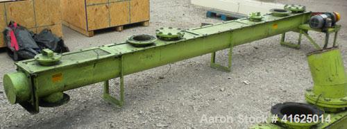 "Used- Screw Conveyor, Carbon Steel, Horizontal. Approximate 9"" diameter x 175"" long x 3"" pitch screw. 7-1/2"" top end feed/en..."