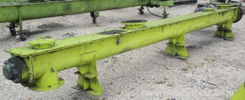 "Used- Screw Conveyor, Carbon Steel, Horizontal. Approximate 8"" diameter x 168"" long x 3"" pitch screw. 8"" top end feed/end bo..."