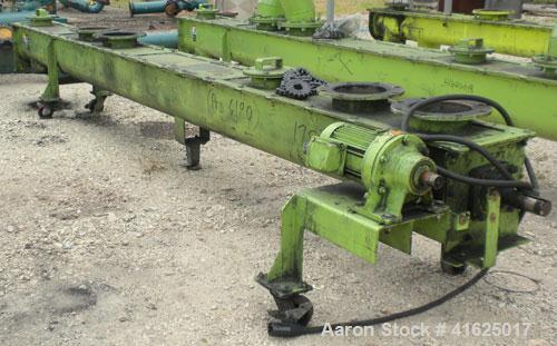 """Used- Screw Conveyor, Carbon Steel, Horizontal. Approximate 9"""" diameter x 175"""" long x 3"""" pitch screw. 8"""" top end feed/end bo..."""