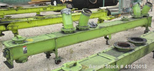 "Used- Screw Conveyor, Carbon Steel, Horizontal. Approximate 9"" diameter x 175"" long x 3"" pitch screw. 8"" top end feed/end bo..."