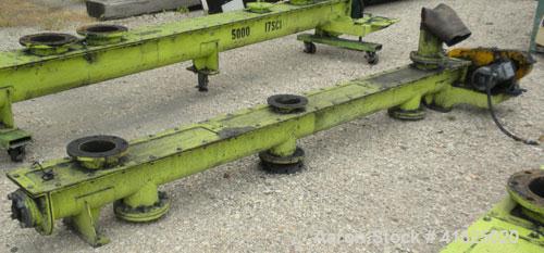 "Used- Screw Conveyor, Carbon Steel, Horizontal. Approximate 5-1/2"" diameter x 126"" long x 3"" pitch screw. 6"" top end feed/en..."