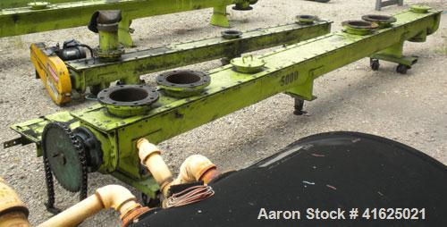 "Used- Screw Conveyor, Carbon Steel, Horizontal. Approximate 7-1/2"" diameter x 175"" long x 3"" pitch screw. 8"" top end feed/en..."