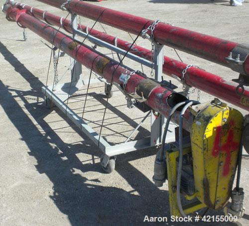 "Used- Screw Conveyor, Carbon Steel. Approximately 5 1/2"" diameter x 177"" long x 2 1/2"" pitch. 6"" diameter tubular trough. 5""..."