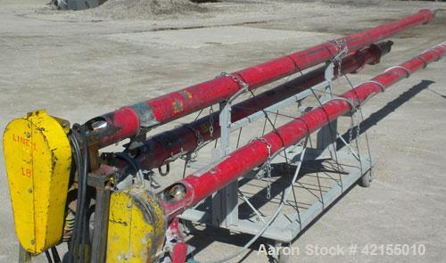 "Used- Screw Conveyor, Carbon Steel. Approximately 4 1/2"" diameter x 238"" long x 2"" pitch. 5"" diameter tubular trough. 4"" x 8..."
